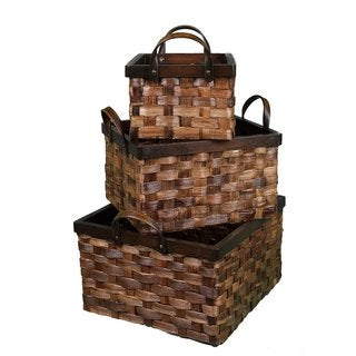 BirdRock Home Cappuccino Abaca Flat Weave Nesting Baskets (Set of 3)