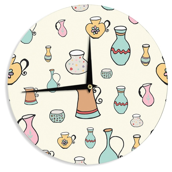 KESS InHouse Louise 'Jugs' Pastel Pattern Wall Clock