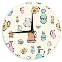 KESS InHouse Louise 'Jugs' Pastel Pattern Wall Clock