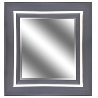 Silver Woodgrain Mirror 31 x 37-inch Mirror with 5-inch Frame