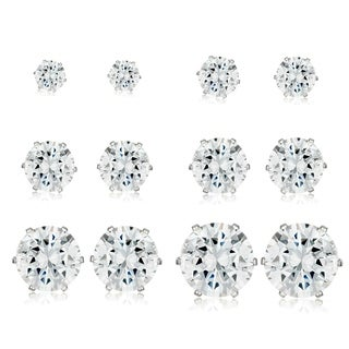 High Polish Cubic Zirconia Stainless Steel Stud Earrings - 6 Pair set