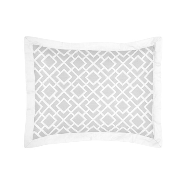 Sweet Jojo Designs Grey and White Diamond Collection Standard Pillow Sham