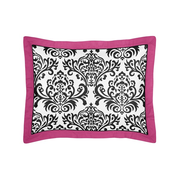 Sweet Jojo Designs Hot Pink Black and White Isabella Collection Standard Pillow Sham