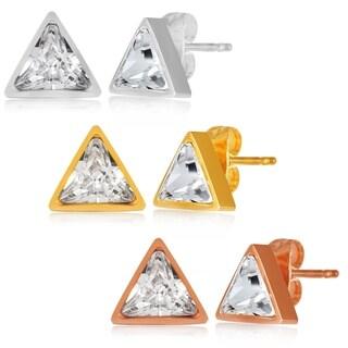 ELYA High Polish Cubic Zirconia Triangle Stainless Steel Stud Earrings