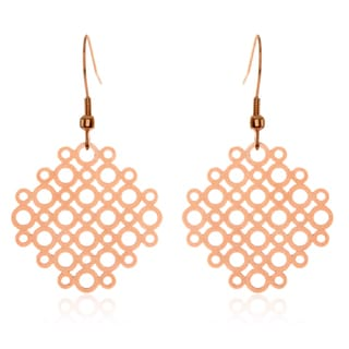 ELYA Rose Gold Geometric Circle Pattern Stainless Steel Dangle Earrings
