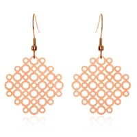 ELYA Rose Gold Geometric Circle Pattern Stainless Steel Dangle Earrings