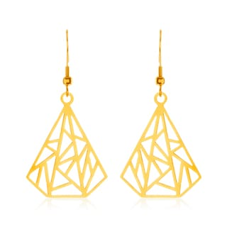 ELYA Gold Plated Geometric Tear Drop Stainless Steel Dangle Earrings
