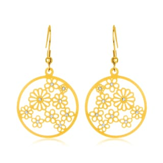 ELYA Gold Plated Crystal Floral Disc Stainless Steel Dangle Earrings