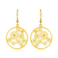 ELYA Gold Plated Crystal Floral Disc Stainless Steel Dangle Earrings