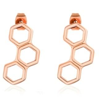 ELYA Rose Gold Honeycomb Stainless Steel Stud Earrings