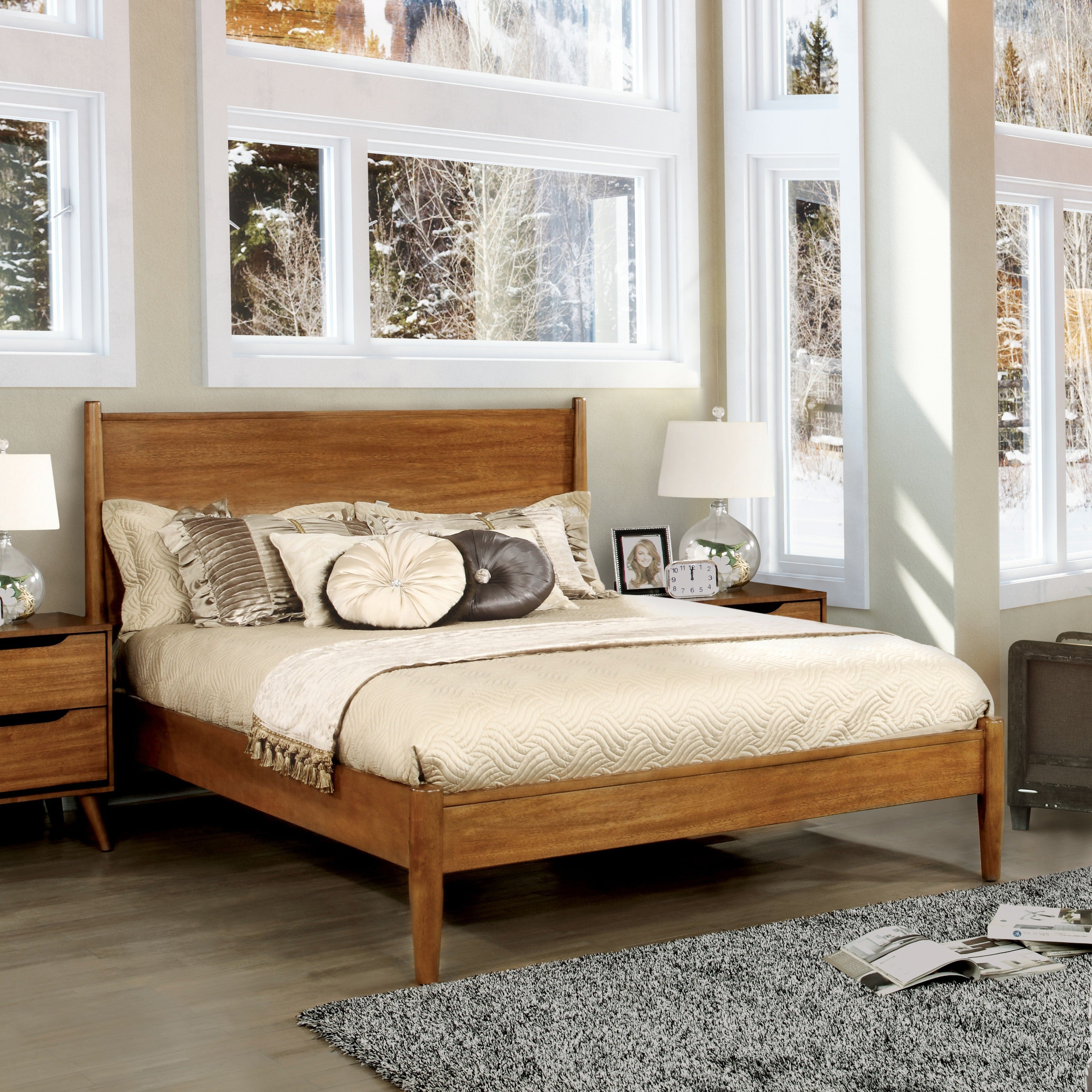 Gold Glass Dining Table, Shop Furniture Of America Fopp Mid Century Platform Bed Overstock 12442790 Oak California King