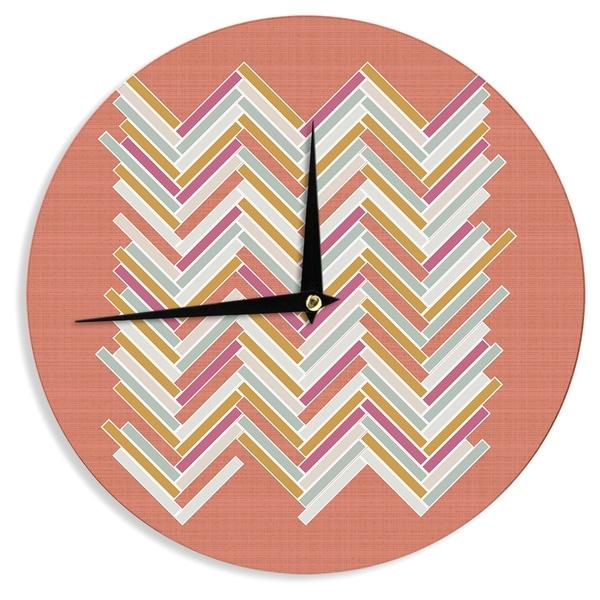 "Kess InHouse Pellerina Design ""Herringbone Weave Bold"" Orange Vector Wall Clock 12"""