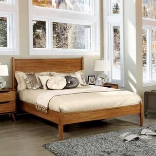 queensize midcentury wooden paneled platform bed