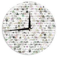 "Kess InHouse Angelo Cerantola ""Triangulation "" Geometric White Wall Clock 12"""