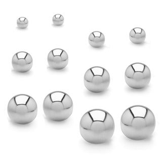 High Polish Ball Stud Stainless Steel Earrings - 6 Pair set