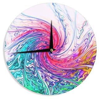 "Kess InHouse Alison Coxon ""Colour Wave"" Teal Fantasy Wall Clock 12"""
