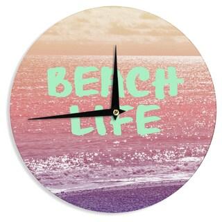 KESS InHouse Alison Coxon 'Beach Life' Pink Coastal Wall Clock