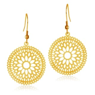 ELYA High Polish Bohemian Floral Disc Stainless Steel Dangle Earrings