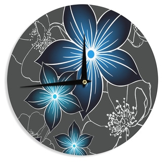 "Kess InHouse Alison Coxon ""Charcoal And Cobalt"" Gray Blue Wall Clock 12"""