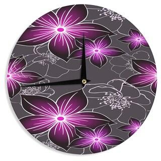 KESS InHouse Alison Coxon 'Charcoal And Amthyst' Gray Purple Wall Clock