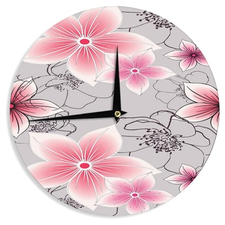KESS InHouse Alison Coxon 'Grey And Pink Floral' Grey Pink Wall Clock