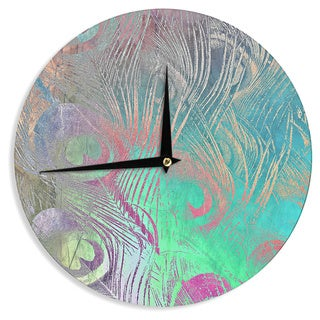 "Kess InHouse Alison Coxon "" Indian Summer"" Purple Teal Abstract Wall Clock 12"""