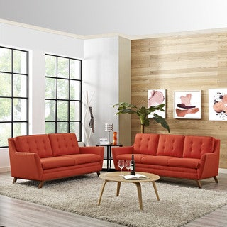 Beguile Tufted Fabric Sofa and Loveseat Set
