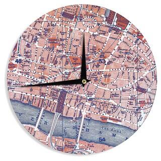 "Kess InHouse Alison Coxon ""City Of London"" Map Wall Clock 12"""
