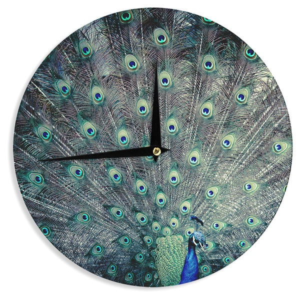 "Kess InHouse Ann Barnes ""Majestic"" Peacock Feather Wall Clock 12"""
