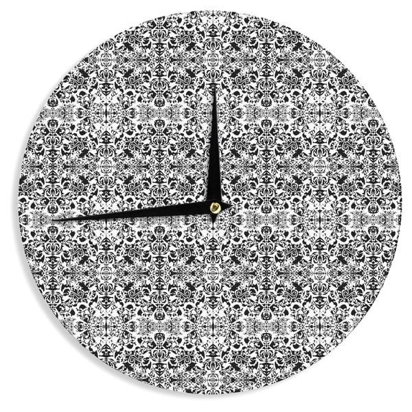"Kess InHouse Mydeas ""Fancy Damask Black & White"" Gray Wall Clock 12"""