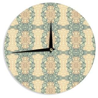 "Kess InHouse Mydeas ""Fancy Damask Antique"" Brown Teal Wall Clock 12"""