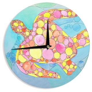 KESS InHouse Catherine Holcombe 'Circle Turtle' Yellow Orange Wall Clock
