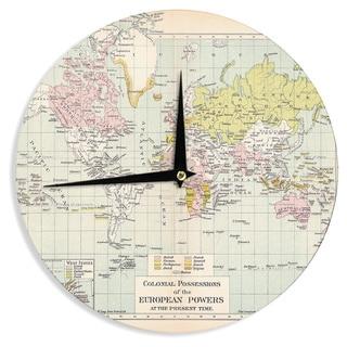 KESS InHouse Catherine Holcombe 'Travel' World Map Wall Clock