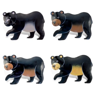 Black Bear Bobble Metal Magnet (Set of 4)