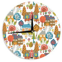 """Kess InHouse Agnes Schugardt """"In The Village"""" Vintage Multicolor Wall Clock 12"""""""