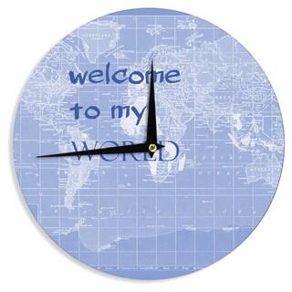 KESS InHouse Catherine Holcombe 'Welcome to my World Quote Indigo' Wall Clock