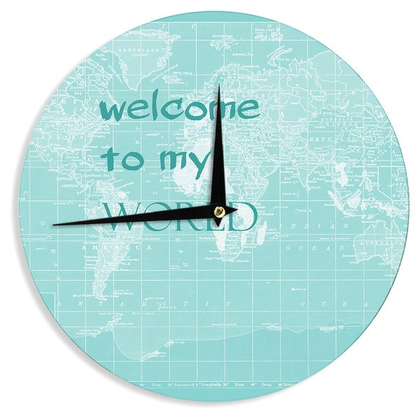 KESS InHouse Catherine Holcombe 'Welcome to my World Quote' Wall Clock