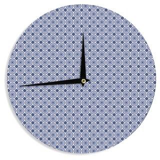KESS InHouse Carolyn Greifeld 'Bohemian Blues II' Blue Geometric Wall Clock