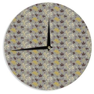 KESS InHouse Mayacoa Studio 'Fall Leaves' Gray Floral Wall Clock