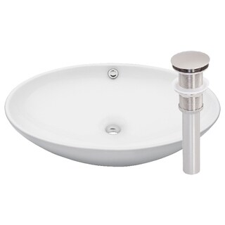 Novatto Bianco Uovo Whit Ceramic/Brushed Nickel Vessel Sink