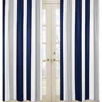Sweet Jojo Designs Stripe Collection Navy Blue and Gray Window Curtain Panels