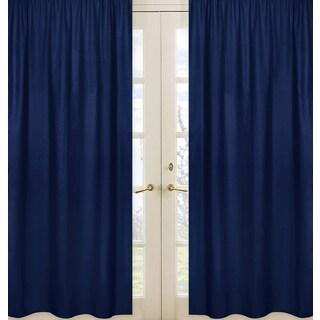 Sweet Jojo Designs Navy Blue Fabric Window Curtain Panels