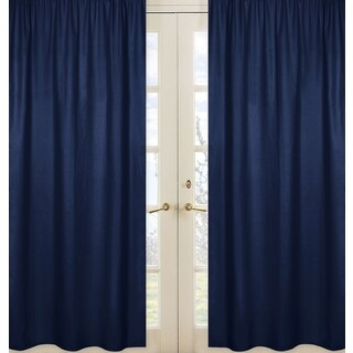 Sweet Jojo Designs Navy Blue and Gray Plaid Collection Solid Navy Blue Window Curtain Panels