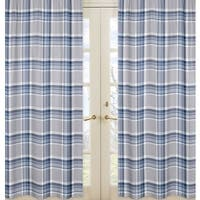 Sweet Jojo Designs Navy Blue and Grey Plaid Collection Window Curtain Panels