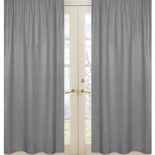 Sweet Jojo Designs Grey Fabric Window Curtain Panels