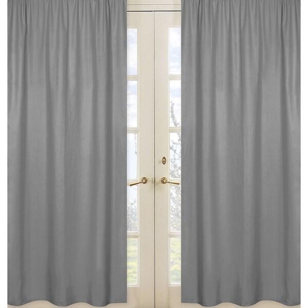 Sweet Jojo Designs Grey Fabric Window Curtain Panels
