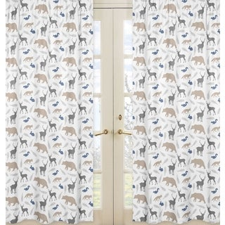 Sweet Jojo Designs Woodland Animals Collection Window Curtain Panels (Set of 2)