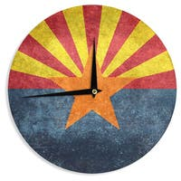 KESS InHouse Bruce Stanfield 'Arizona State Flag Retro Style' Orange Blue Wall Clock