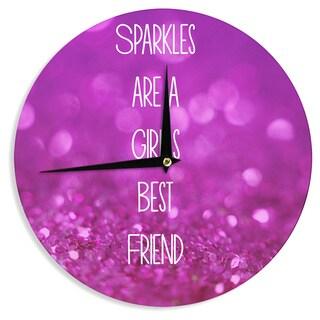 "Kess InHouse Beth Engel ""Sparkles are a Girls Best Friend"" Purple Glitter Wall Clock 12"""