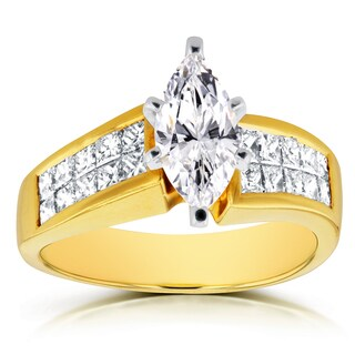 Annello 18k Yellow Gold Certified 2 1/8ct TDW Marquise Diamond Invisible Setting Engagement Ring (F, SI2)